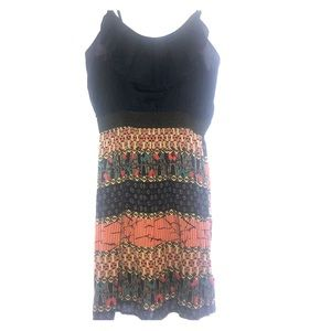 Navy Blue Dress With Multi Color Print Bottom.